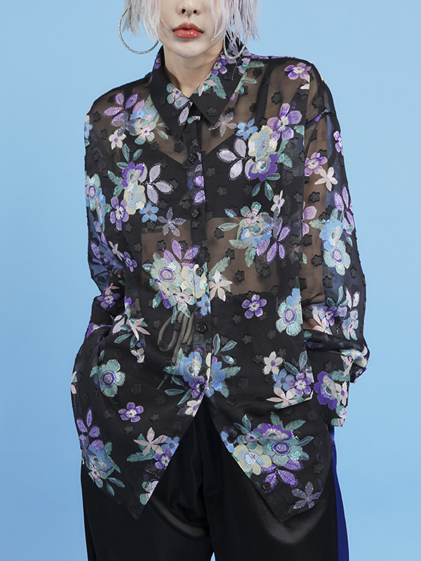 flower see-through blouse (2 color)
