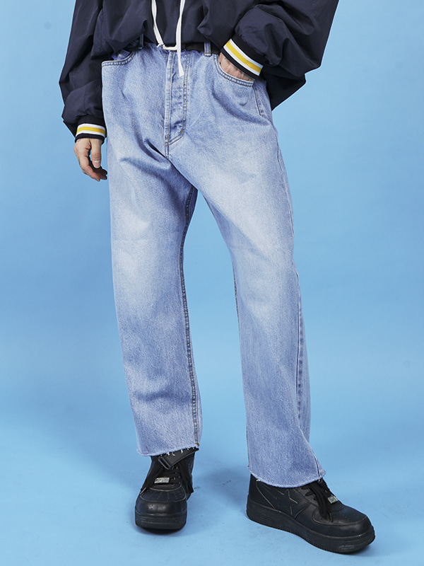 SALE vintage denim wide pants (blue) - UNISEX