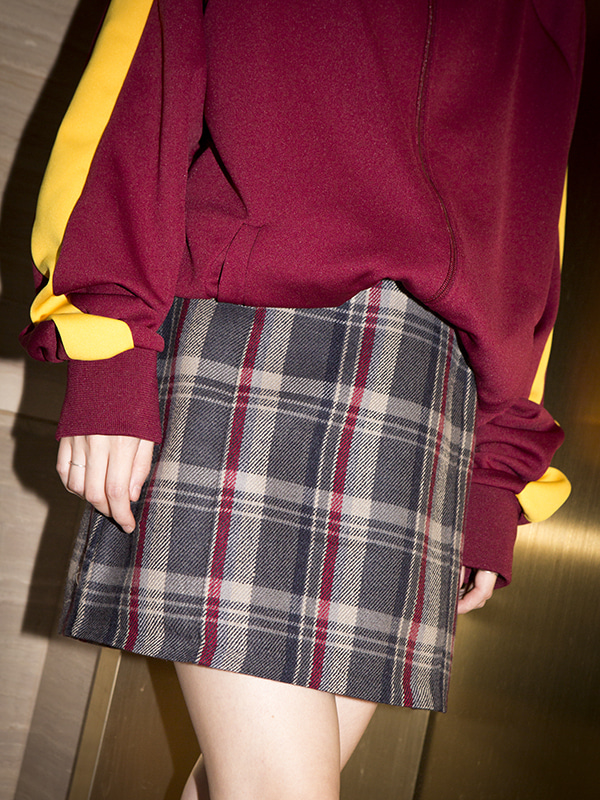 wool check mini skirt (2 color)