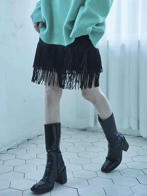 swede fringing skirt (2 color)