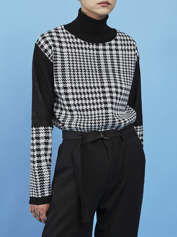 shepherd check poloneck knit - UNISEX