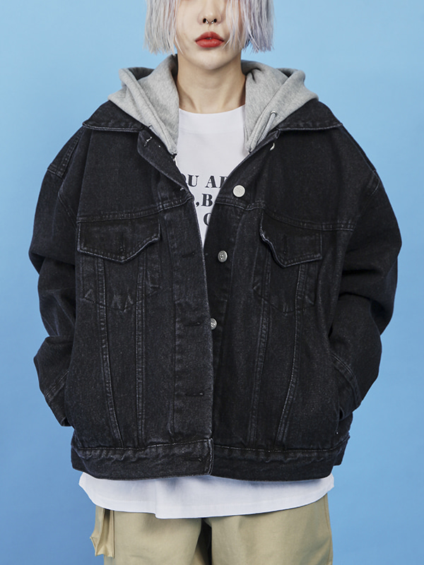 zipper hood denim jacket (2 color)