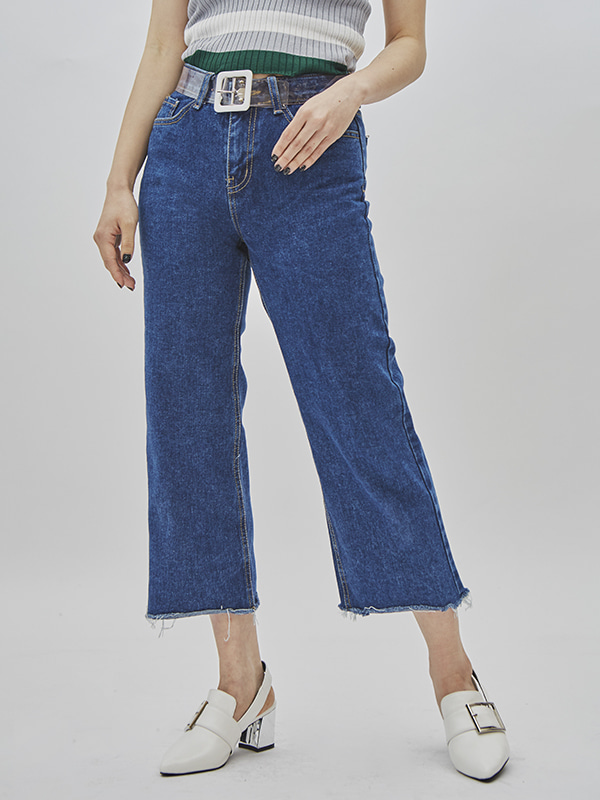 crop semi boots-cut denim pant (2 color)