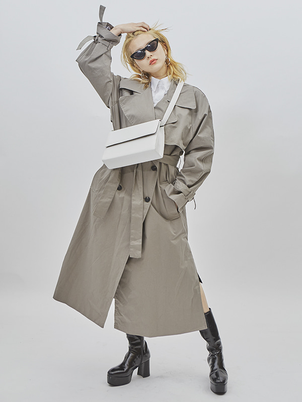 button strap trench coat (3 color)