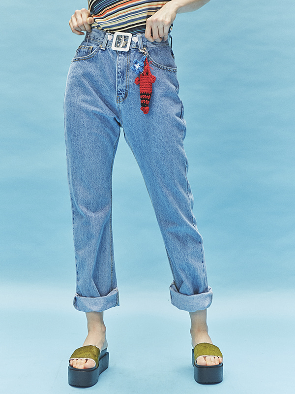 straight pale denim pants - UNISEX