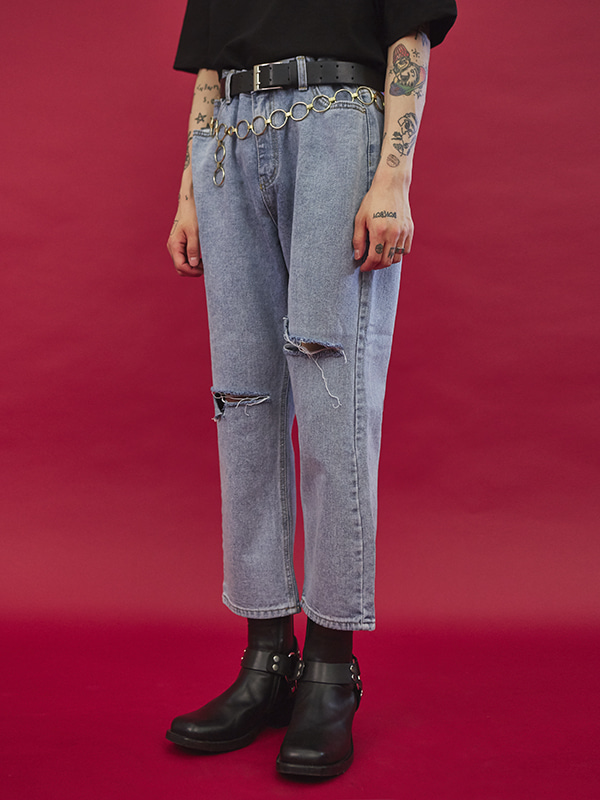 ripped knee denim pants - UNISEX