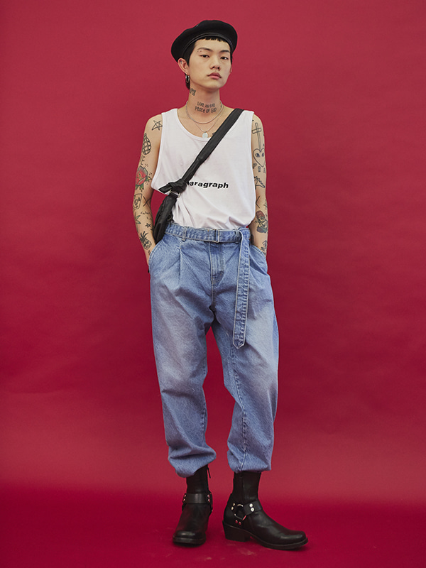 belt denim pants - UNISEX
