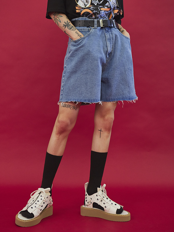 daily half denim pants (2 color) - UNISEX