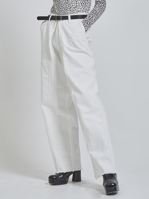 pintuck wide cotton pants (2 color)
