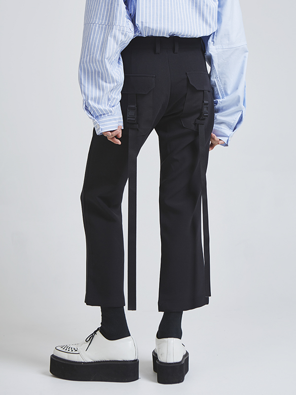 buckle long strap ankle pants - UNISEX